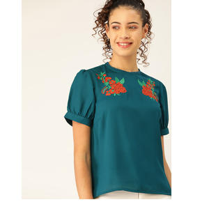 DressBerry Women Teal Green Solid Top