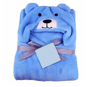 My NewBorn Baby Bear Bath Robe Cum Ultra Soft Wrapper (Blue)