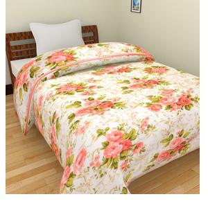 WebelKart JaipurCrafts 220 TC Flowers Print Reversible Poly Cotton Single Bed AC Comfort/Blanket/Quilt (54x84 Inches, Multicolour)