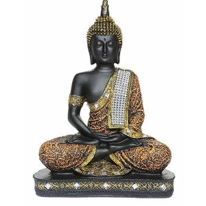 WebelKart by JaipurCrafts Sitting Buddha Idol Statue Showpiece; 10 Inch; Orange and Black