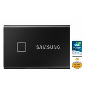 Samsung T7 Touch 500GB USB 3.2 Gen 2 (10Gbps, Type-C) External Solid State Drive (Portable SSD) Black (MU-PC500K)