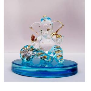 Glass Street Masandh Ganesh Decorative Showpiece - 6 cm  (Glass, Blue)