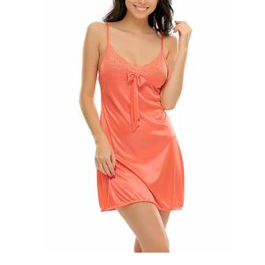 Clovia Womens Sexy Short Nightdress in Coral with Laces