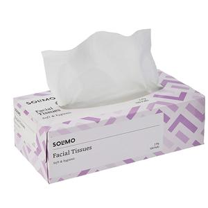 Amazon Brand - Solimo 2 Ply Facial Tissues Carton Box - 100 Pulls