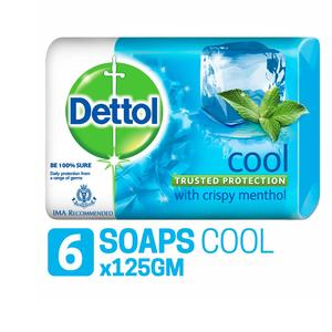 Dettol Germ Protection Bathing Bar Soap - 125 g (Pack of 6, Cool)