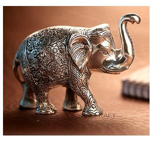 DreamKraft Antique Metal Elephant Showpiece for Home Décor(Silver, 15x5x10 cm)