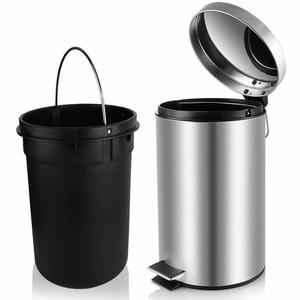 Mofna Industries Stainless Steel Plain Pedal Dustbin/Plain Pedal Garbage Bin with Plastic Bucket- 7Liter Set of 1 Pcs