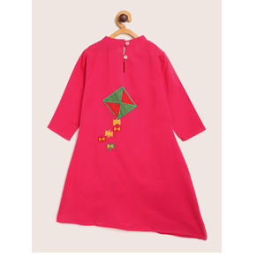 Sangria Girls Pink Solid Layered Kurta with Trousers