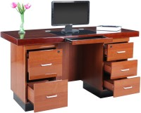RoyalOak Retro Engineered Wood Office Table(Free Standing, Finish Color - Honey Brown)