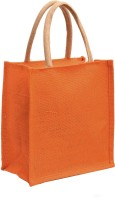 AGGDA Plain Orange Jute Burlap Lunch tiffin Outdoor handbag Bag working office bag Multipurpose Bag(Orange, 12 L)
