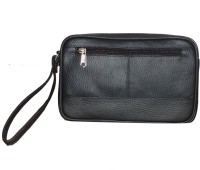 Style 98 Style 98 Black Pure Leather Multipurpose Bag For Men Multipurpose Bag(Black, 3 inch)