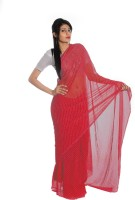 Aaradhya Fashion Printed Leheria Handloom Poly Georgette Saree(Pink)