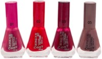 Bonjour Paris Exceptional Nail Polish (Set Of 4) Desire, Chocolate Fudge, Tender Chestnut, Hot Red(Pack of 4)