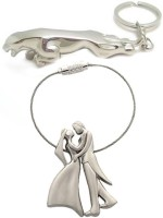 Confident Set Of 2 Standing Couple And Metalic Jaguar Key Chain(Silver)