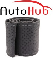 Auto Hub Hand Stiched Steering Cover For BMW X5(Grey, Leatherite)