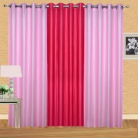 Excel Bazaar 275 cm (9 ft) Polyester Long Door Curtain (Pack Of 3)(Solid, Light Pink, Dark Pink)
