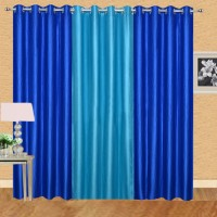 Excel Bazaar 275 cm (9 ft) Polyester Long Door Curtain (Pack Of 3)(Solid, Royal Blue, Aqua)