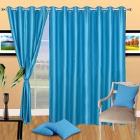 Excel Bazaar 275 cm (9 ft) Polyester Long Door Curtain (Pack Of 3)(Solid, Aqua)