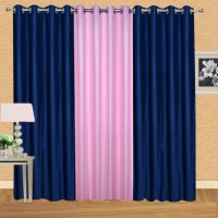 Excel Bazaar 275 cm (9 ft) Polyester Long Door Curtain (Pack Of 3)(Solid, Neavy Blue, Light Pink)