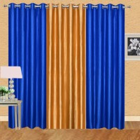 Excel Bazaar 275 cm (9 ft) Polyester Long Door Curtain (Pack Of 3)(Solid, Royal Blue, Golden)