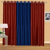 Excel Bazaar 275 cm (9 ft) Polyester Long Door Curtain (Pack Of 3)(Solid, Rust, Neavy Blue)