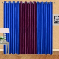 Excel Bazaar 275 cm (9 ft) Polyester Long Door Curtain (Pack Of 3)(Solid, Royal Blue, Wine)