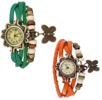 Felizer Butterfly Charm Vintage Bracelet Combo of 2 watch (Green & Orange) Analog Watch  - For Women