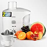 iBELL JU1400SG Juice Maker 300-Watt Fruit Juicer, Copper Motor, Includes Juicer Jar, Citrus Juice Extractor and Detachable Pulp Collector (White)