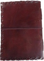 eShilp Handmade Plain Leather Cover Diary-Side Stitch-String Wrap Size 20x15x2.5 Cm Brown Regular Journal Unruled 180 Pages(Brown)
