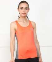 U.S. Polo Assn Solid Women Round Neck Orange, Grey T-Shirt
