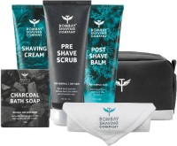 Bombay Shaving Company Premium Shaving Travel Kit | Pre-Shave Scrub, Shaving Cream, Post Shave Balm, Charcoal Soap and Towel | Made in India(5 Items in the set)