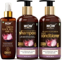 WOW Skin Science Red Onion Black Seed Oil Ultimate Hair Care Kit (Shampoo + Hair Conditioner + Hair Oil)(3 Items in the set)