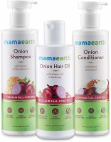 "Mamaearth ""Anti Hair Fall Spa Range with Onion Hair Oil + Onion Shampoo + Onion Conditioner for Hair Fall Control""(3 Items in the set)"