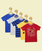 Miss & Chief Boys Printed, Striped, Solid Pure Cotton T Shirt(Multicolor, Pack of 5)