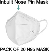 LOIS CARON FM-22 N95 MASK WITH METALLIC NOSE PIN REUSABLE ANTI-POLLUTION , ANTI-VIRUS BREATHABLE FACE MASK N95 WASHABLE ( WHITE) FOR MEN , WOMEN AND KIDS MASK , REUSABLE, WASHABLE Reusable(White, Free Size, Pack of 20)