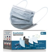 BreatheSafe 4 Ply Activated Carbon Nanosilver Surgical Face Mask, Self Sanitizing Mask, BFE & PFE >99%, ASTM Level 3, Tested & ISO 13485:2016 Certified, Breathing Capacity >99%, Premium Mask With Nose Clip For Men and Women with Activated Nanonsilver Fabric Filter, Anti Pollution and Anti Microbial,