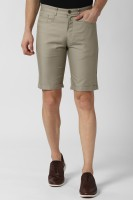 Peter England Solid Men Green Basic Shorts