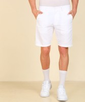 Peter England Solid Men White Chino Shorts