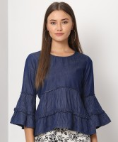 Flying Machine Casual 3/4 Sleeve Striped Women Blue Top