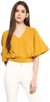 Harpa Casual Batwing Sleeve Solid Women Yellow Top