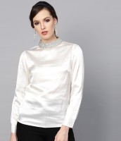Sassafras Party Cuffed Sleeve Solid Women White Top