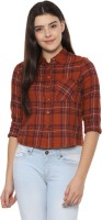 People Women Checkered Casual Brown Shirt