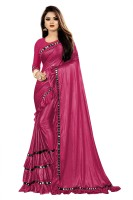 RADHA RAMAN FASHION Solid Fashion Lycra Blend Saree(Maroon)