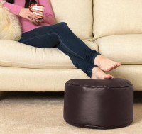 Aart Store XL Upholstered Round Pouffe Ottoman (Leatherette Brown) Bean Bag Footstool  With Bean Filling(Brown)