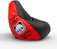 ComfyBean XL Designer Bean Bag Filled with Beans - Today I will do nothing - Red Teardrop Bean Bag  With Bean Filling(Red, Black)