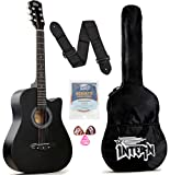 Intern INT-38C Acoustic Guitar Kit, With Bag, Strings, Pick And Strap, Black