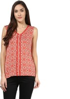 109°F Casual Sleeveless Printed Women Red Top