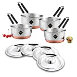 Meqstore Stainless Steel Copper Bottom Saucepans with lids, Flat Base Tea Pan, Milk Pan, Tapeli Patila, Saucepan Pot Cookware with lids Combo Set of 4 (1 Litre, 1.5 Litre, 1.7 Litre & 2.2 Litre)