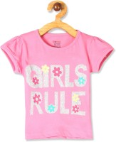 DONUTS Girls Printed Pure Cotton T Shirt(Pink, Pack of 1)